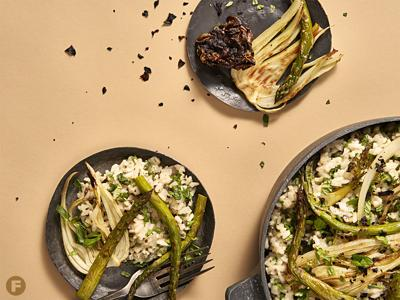 Herby Dulse Risotto with Charred Vegetables