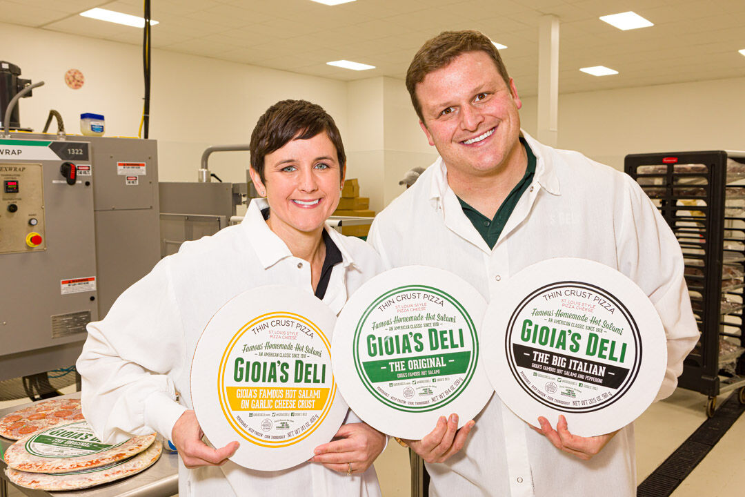 Gioia's Deli pizza and owners