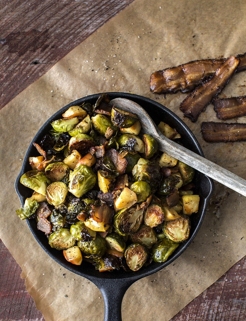 Jalapeño Bacon-Roasted Brussels Sprouts and Apples