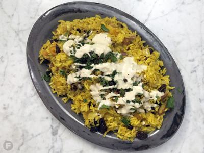 Rice with Almonds, Raisins and Tahini