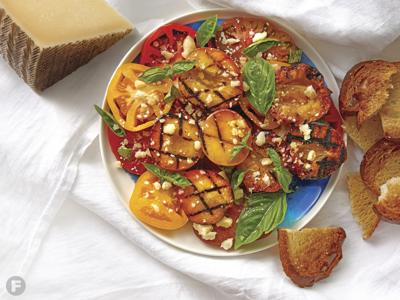 Grilled Peaches with Heirloom Tomatoes and Manchego