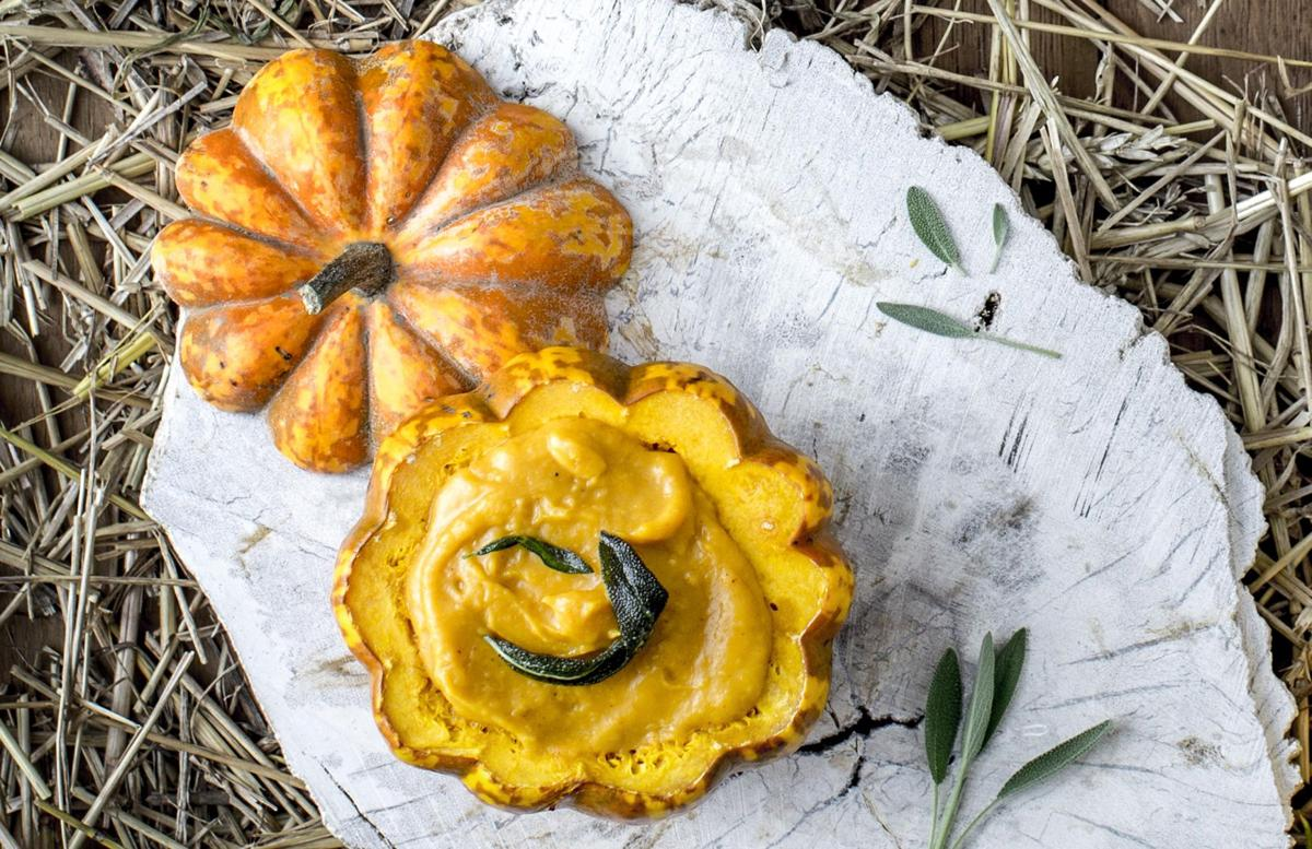 Butternut and Acorn Squash Soup with Pan-Fried Sage