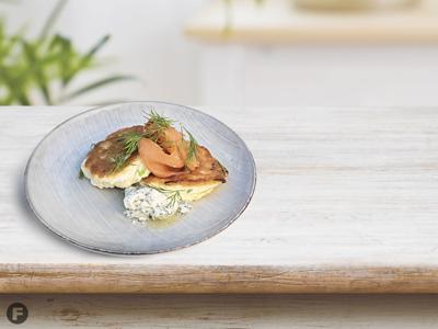 Savory Japanese Pancakes with Lox and Whipped Yogurt