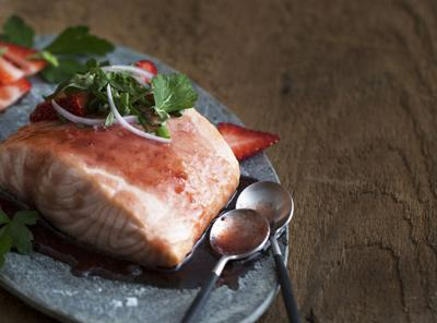 Olive Oil Poached Copper River Salmon With Strawberry Gastrique