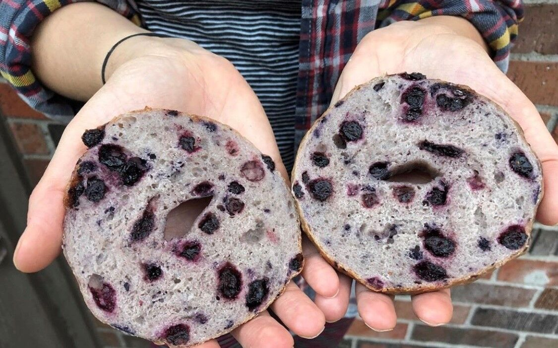 Goldie's Bagels blueberry bagel