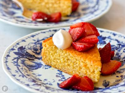 Cornmeal Cake with Roasted Strawberries
