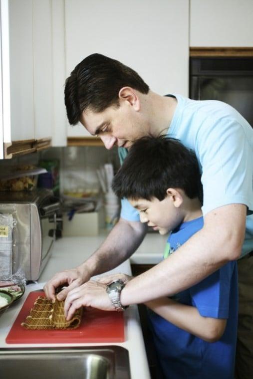 Fabrizio Schenardi helps his 8-year-old son make a dream school lunch.