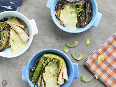 Braised Leeks with Miso-Chive Dressing