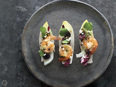 Green Peppercorn Shrimp and Winter Greens Bites
