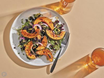 Kabocha Squash Forbidden Rice Salad with Lemon-Pomegranate Dressing