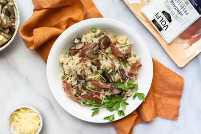 Wine-lovers' risotto: Prosecco-infused rice with prosciutto makes the perfect hot dish for a cold night