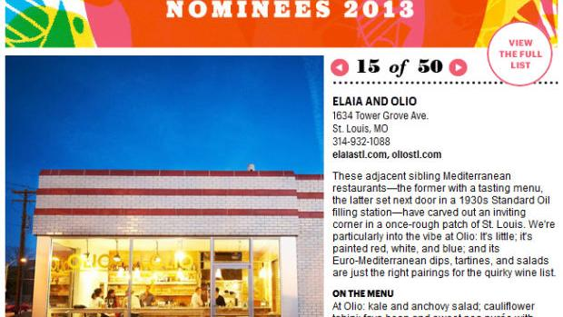 Niche, Elaia & Olio Among Nominees for Bon Appetit's 50 Best