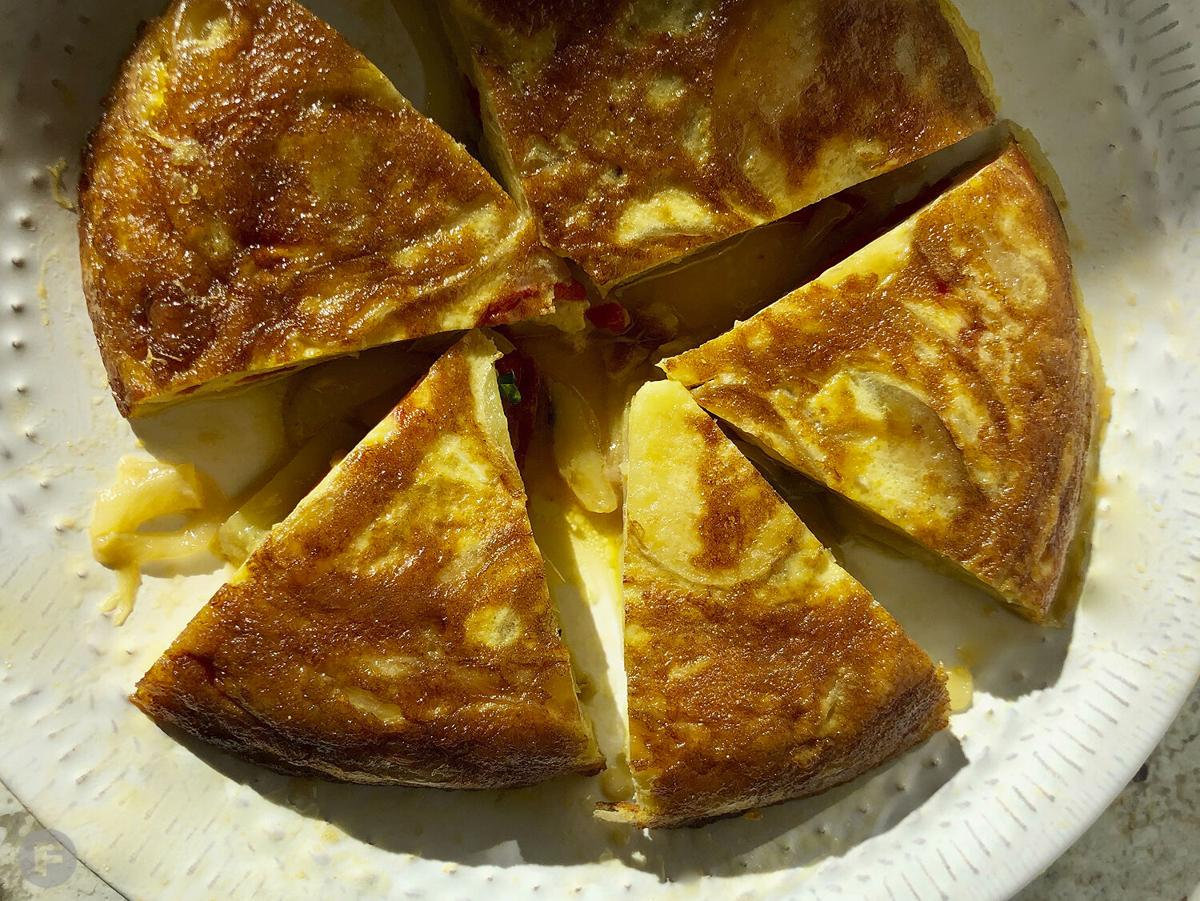 Spanish Tortilla with Roasted Red Pepper