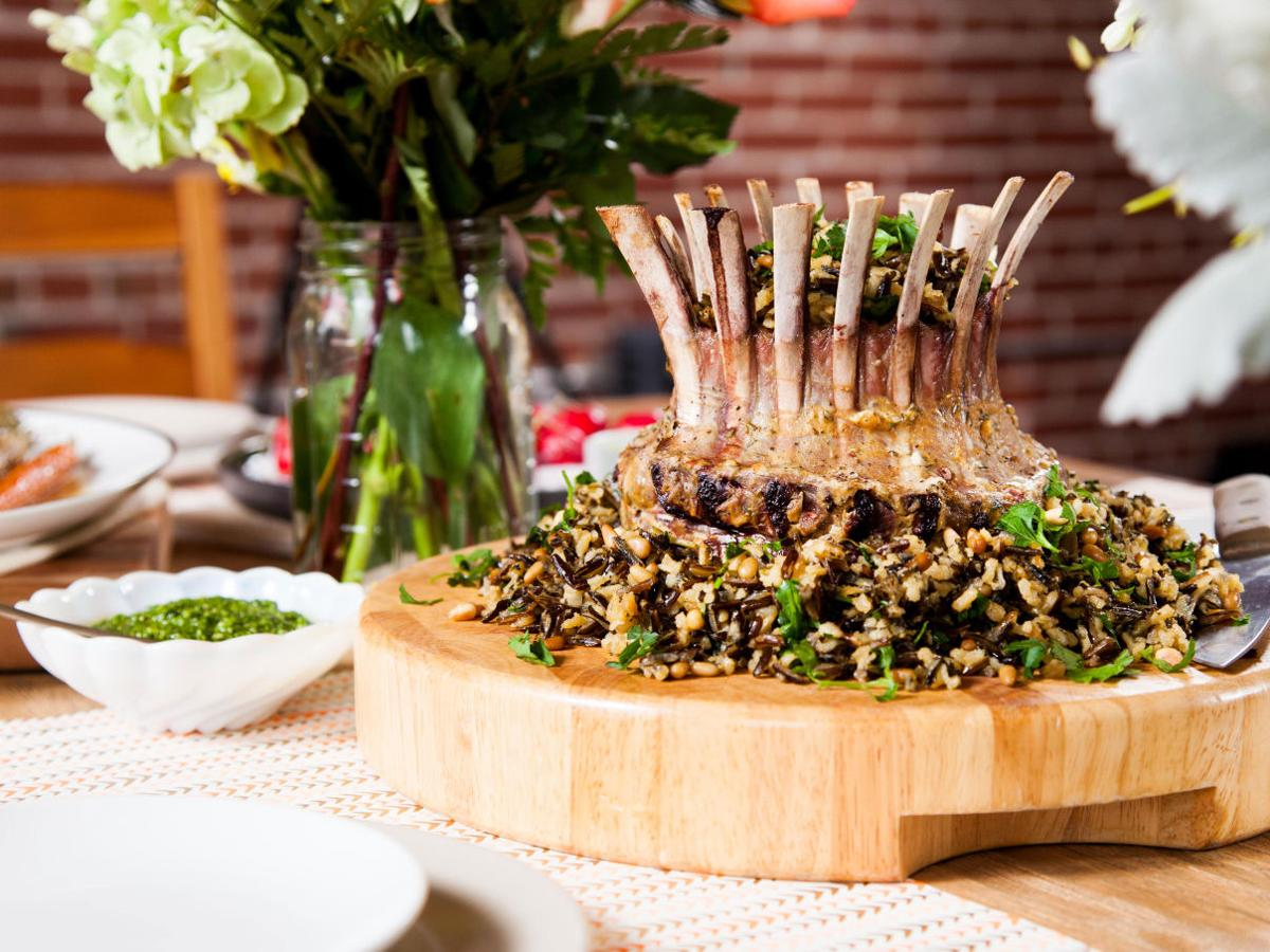 Crown of Lamb with Arugula Pesto with Herbed Wild Rice Stuffing