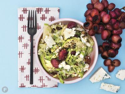 Winter Greens with Roasted Grapes and Danish Blue Cheese
