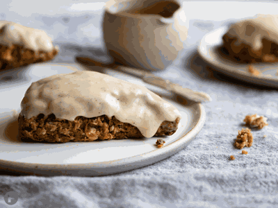 Gingerbread-oat scones with brown butter glaze