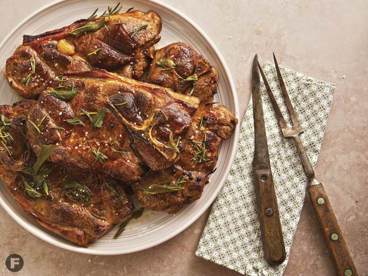 Grilled Pork Steaks with Rosemary-Sage Finishing Sauce
