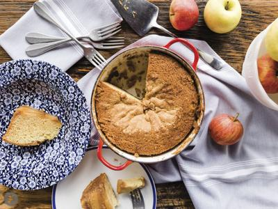 Dutch Oven Apple Upside-Down Cake