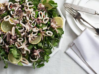 Feast of the Seven Fishes Cold Calamari-Sweet Pea Salad