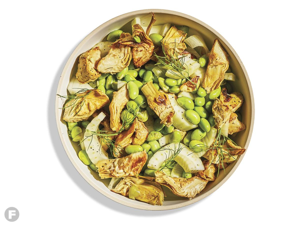 Roasted Artichoke Salad with Edamame and Fennel