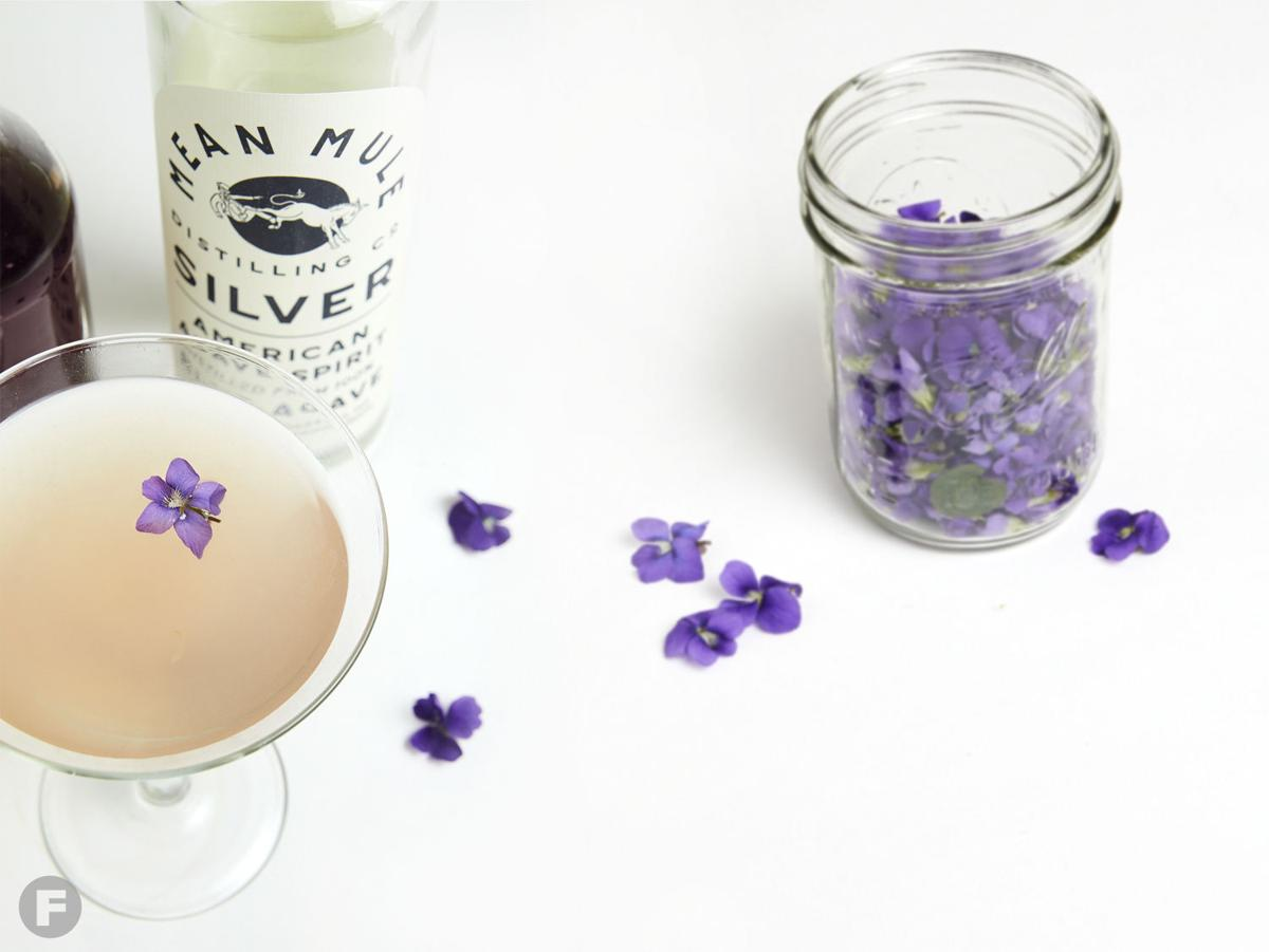 Pink Martini with Homemade Violet Syrup