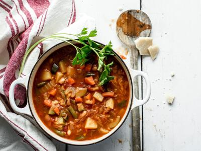 Minestrone Soup with Carrots, Potatoes, Green Beans, Zucchini and Cabbage