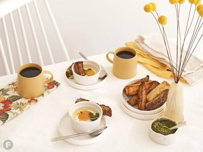 Shirred Duck Eggs with Summer Herb Pesto and Toast