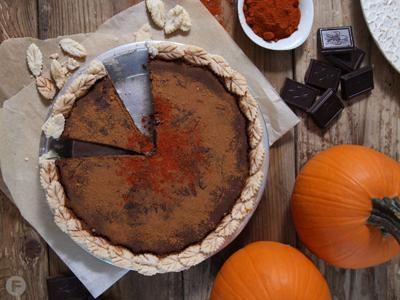 Chocolate-Pumpkin Pie with Cinnamon and Cayenne Pepper