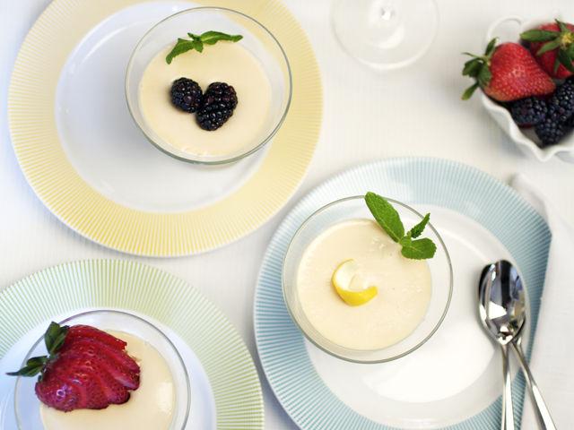 Ginger Lemon Panna Cotta With Fresh Berries