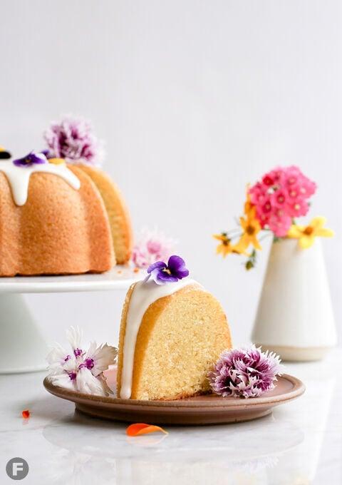 Lavender Buttermilk Bundt Cake Sliced
