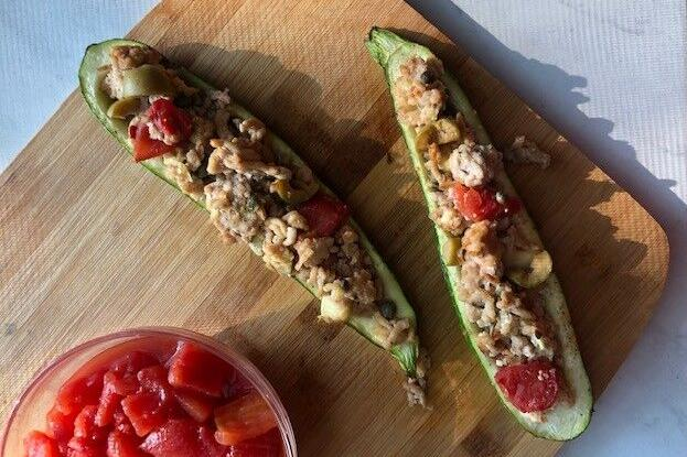 Picadillo-Inspired Stuffed Zucchini Squash