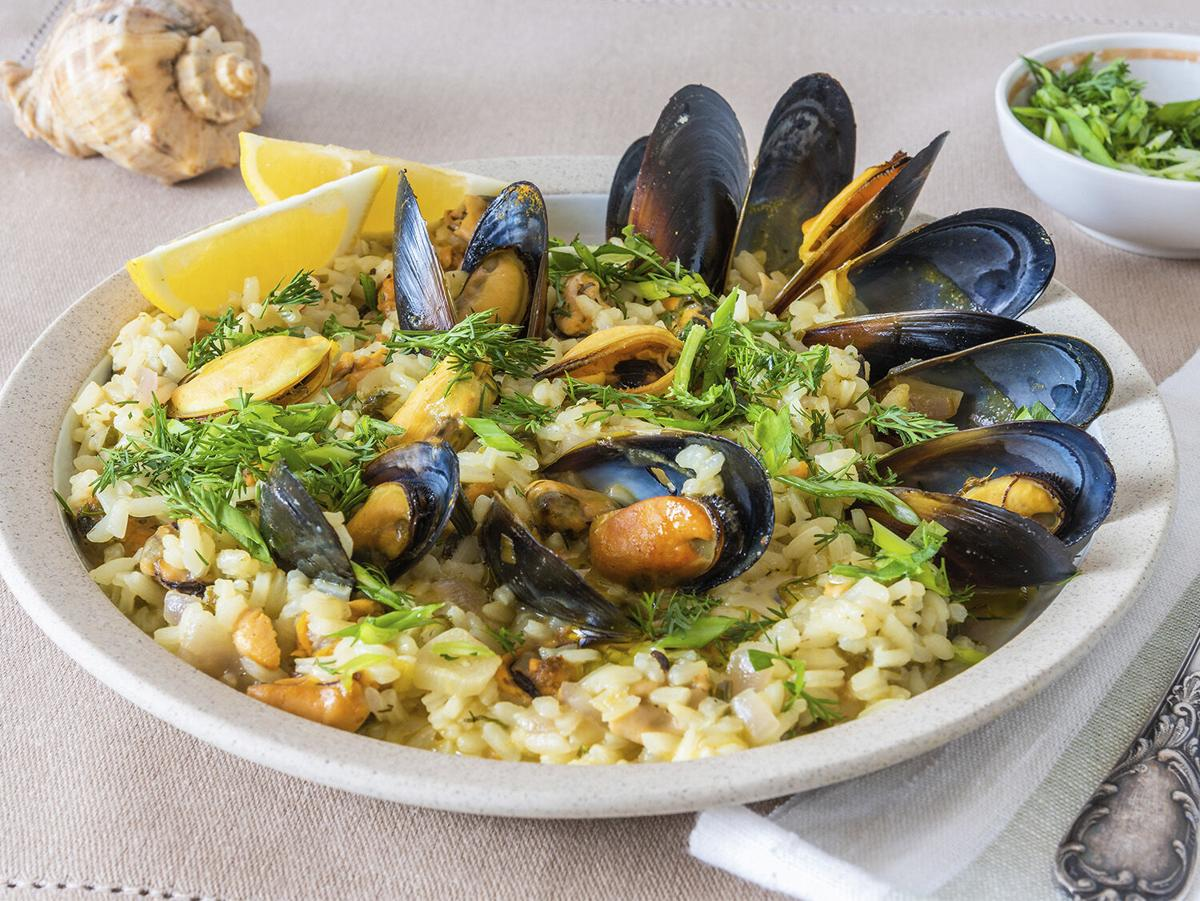 Mussels with Lemon Fennel Risotto