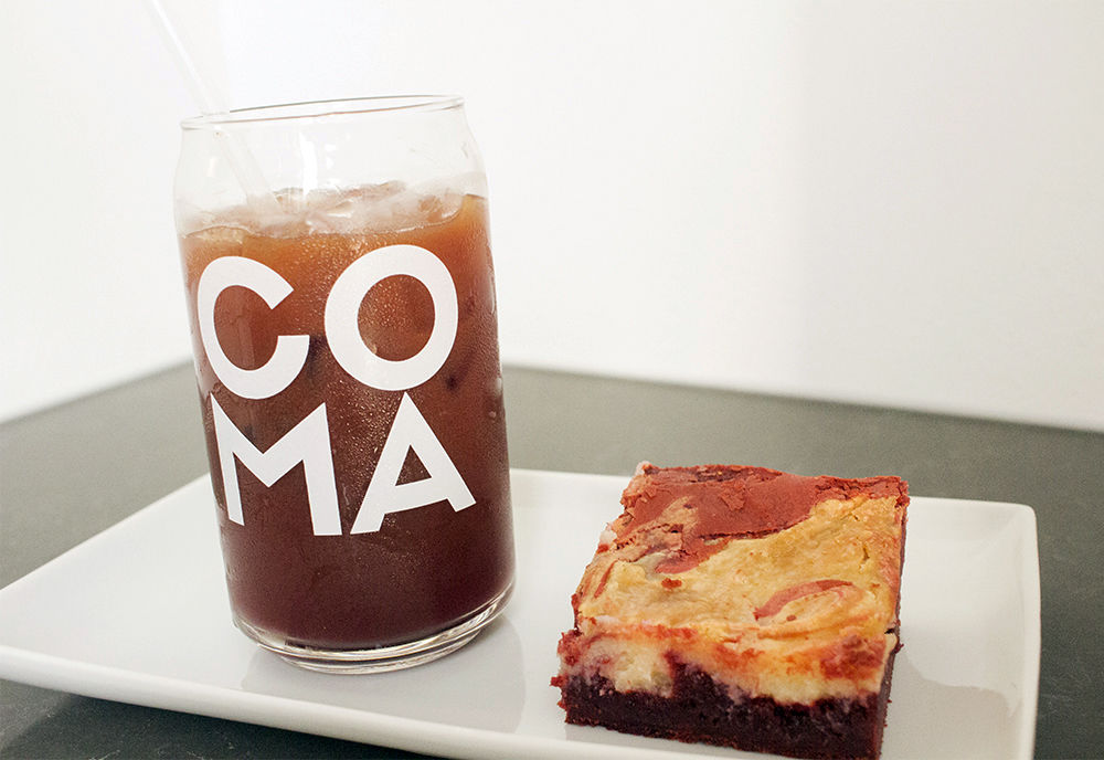 Coma Coffee LYFE Drink and Red-Velvet Brownie