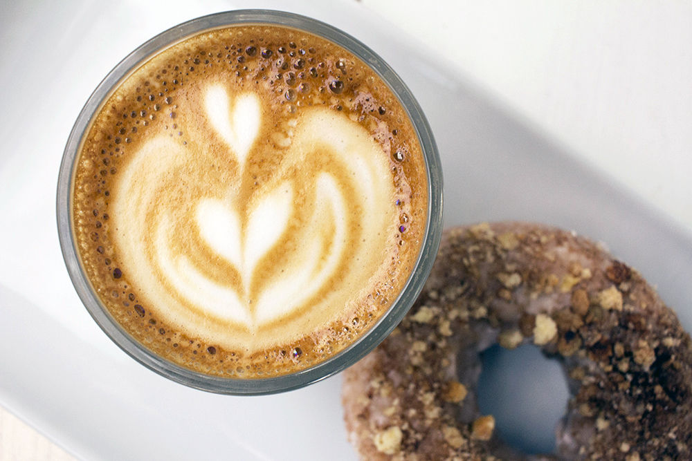 Coma Coffee Cortado and Cinnamon Donut