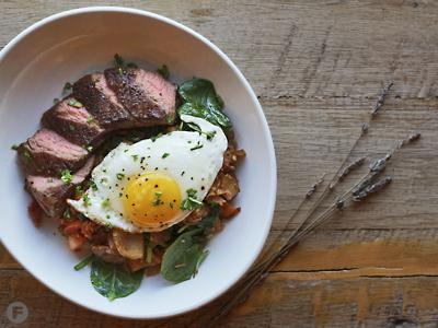 Boeuf and Pomme Hash with Lavender Balsamic Reduction