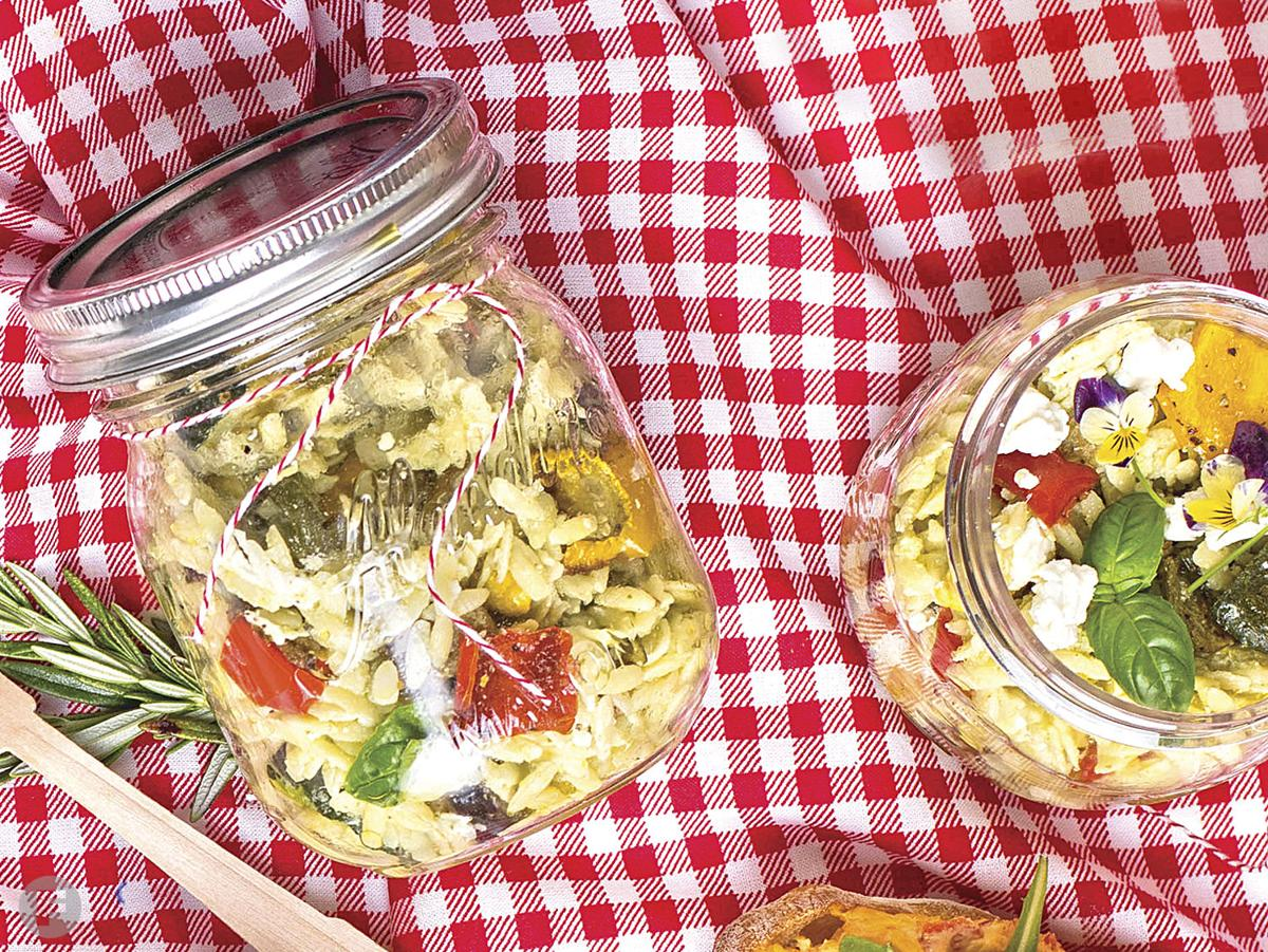 Vegetable-Orzo Pasta Salad with Goat Cheese