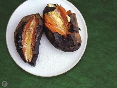 Coal-Roasted Sweet Potatoes With Salted Saffron-Honey Butter