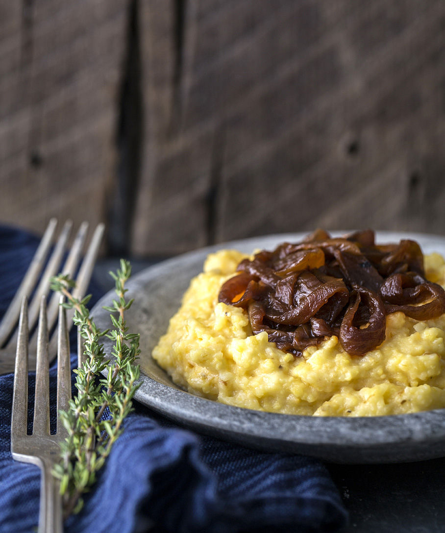 Creamy Popcorn Polenta with Smoked Cheddar and Caramelized Onions
