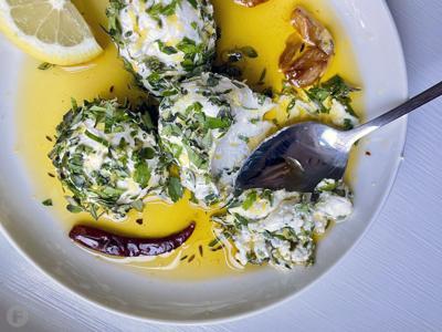 Herbed Labneh in Spicy Garlic Oil