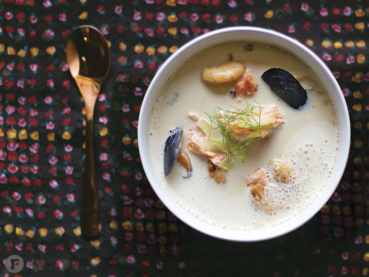 Norwegian Fish Soup with Mussels, Brandy and Riesling
