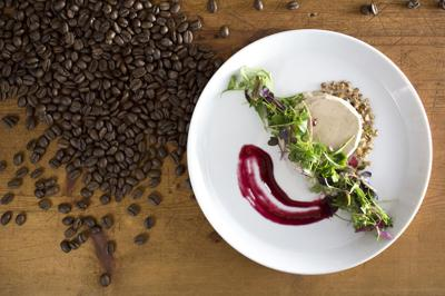Frank McGinty's Sumatra Wahana Natural Coffee-Goat Cheese Panna Cotta, Blueberry Gastrique and Spiced Pecans