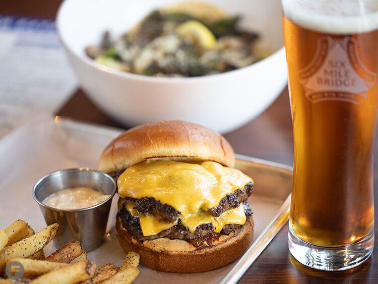 Six Mile Bridge Beer burger and sprouts