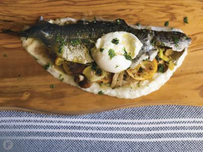 Finnish Stuffed and Seared Rainbow Trout with Meyer Lemon Butter and Turnip Purée