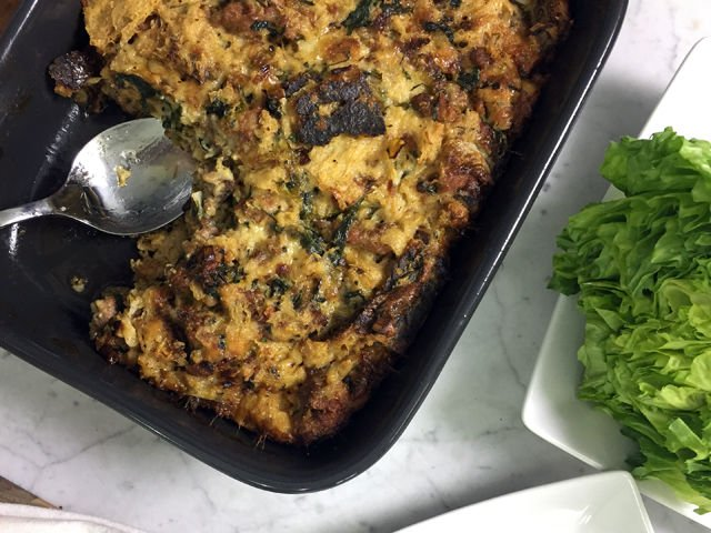 Savory Bread Pudding with a Salad of Bitter Greens