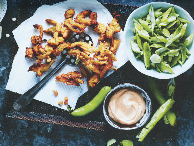 Broad-bean-pod fritters from Too Good to Waste