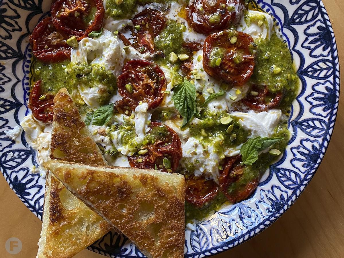 Burrata with Roasted Tomatoes and Pistachio Pesto