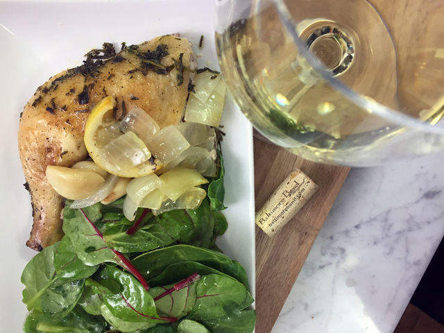 Spatchcocked Chicken in White Wine with Herbs