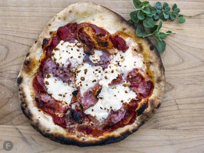 Wood-Fired Pizza With Burrata, Spicy Soppressata and Hot Honey