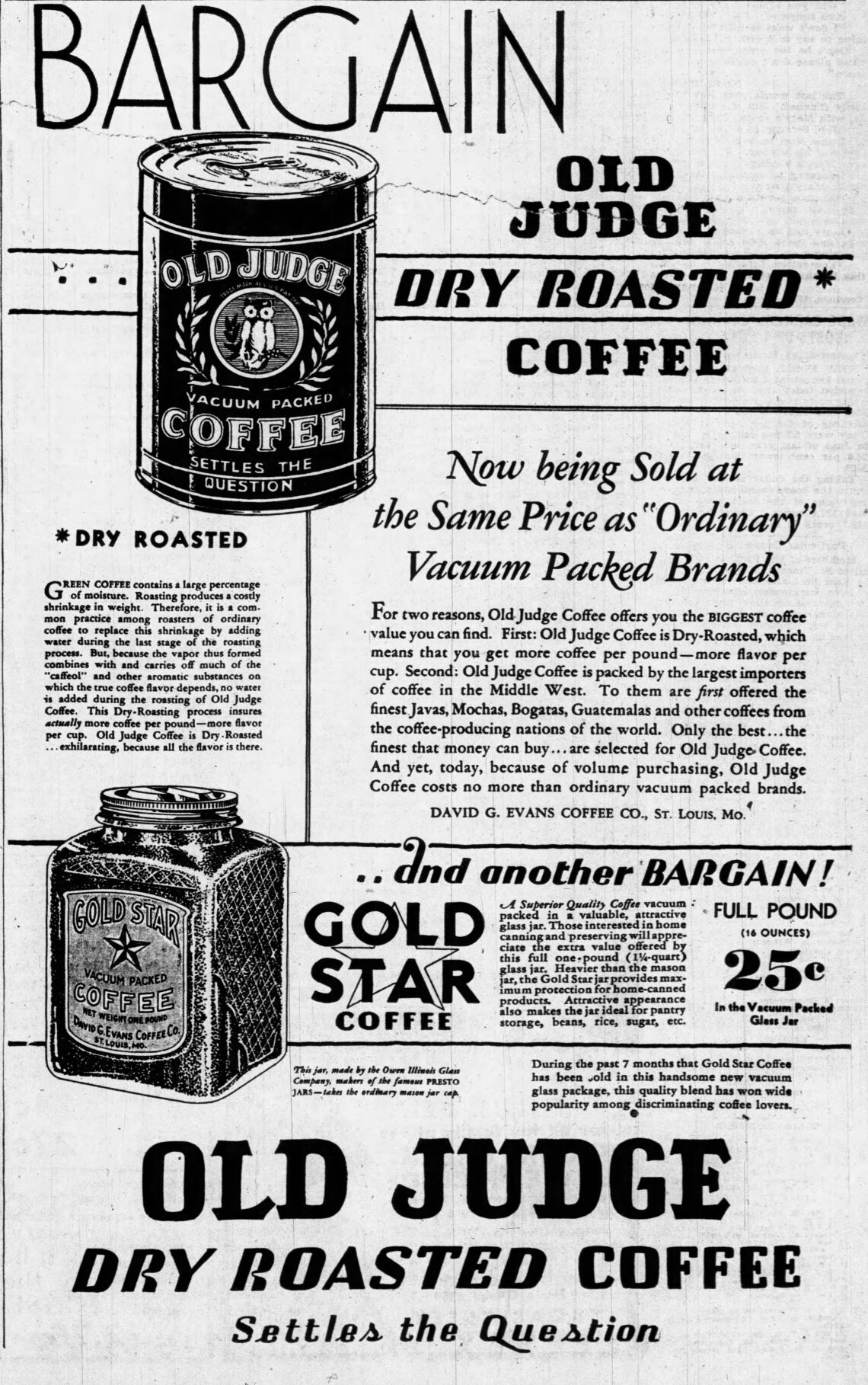 Old Judge Coffee Ad