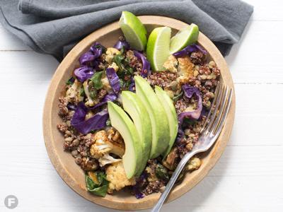 Lentil-Quinoa-Swiss Chard Salad With Avocado  and Lime Vinaigrette